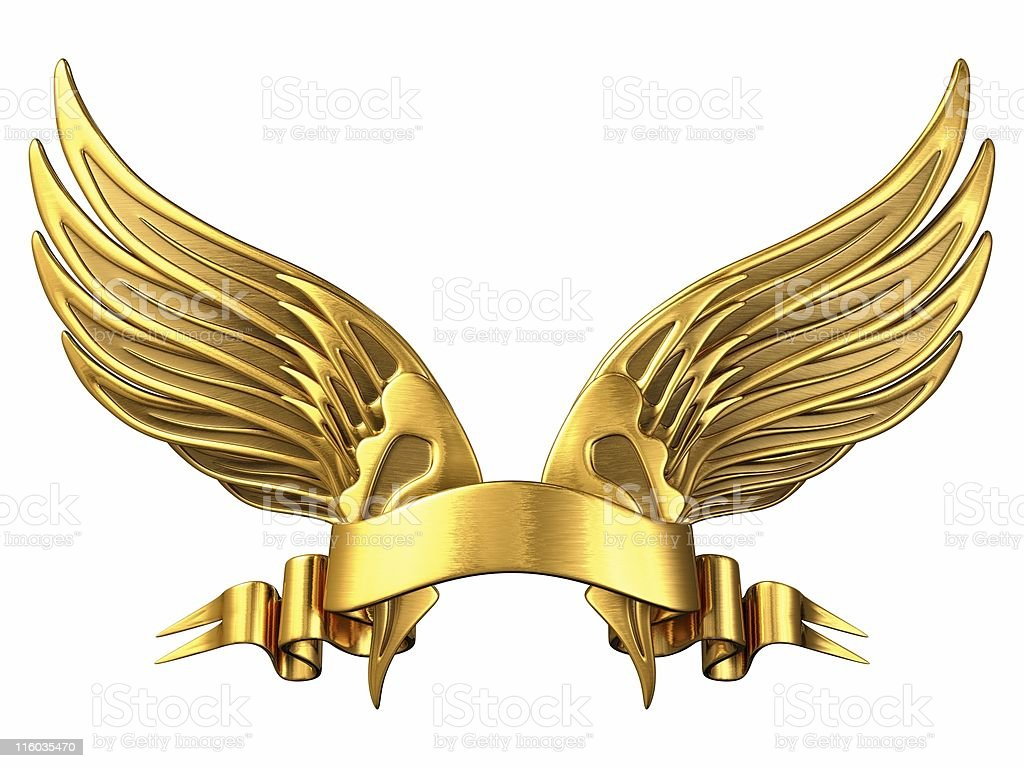 Gold Wings with Ribbon royalty-free stock photo