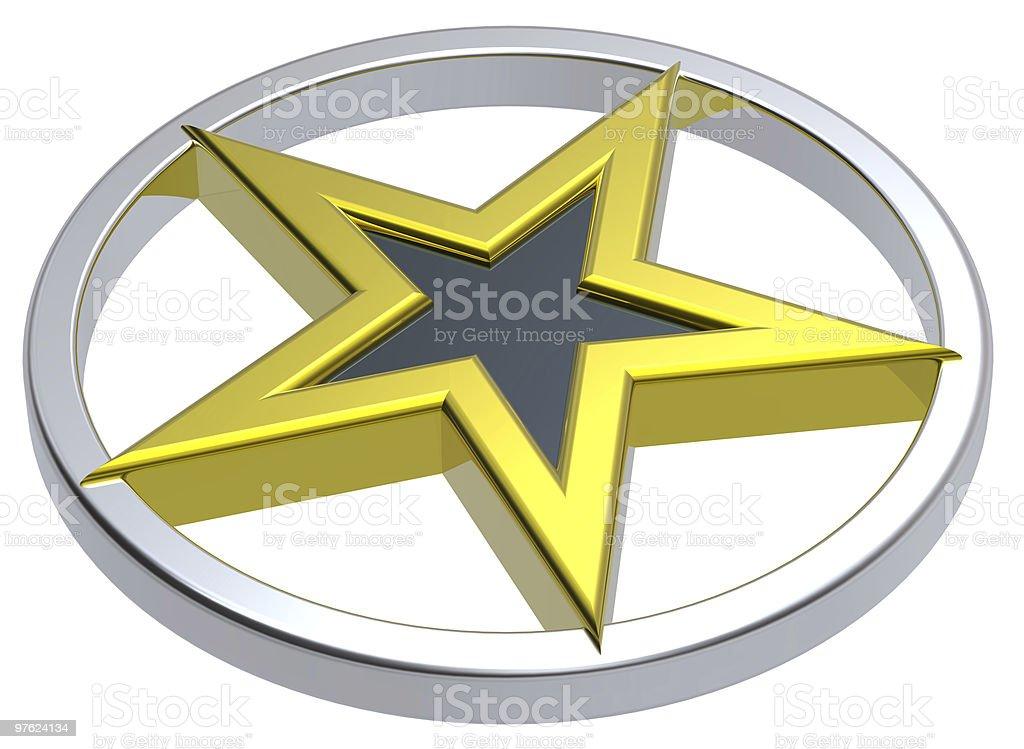 Gold with black star in a chrome circle royaltyfri bildbanksbilder