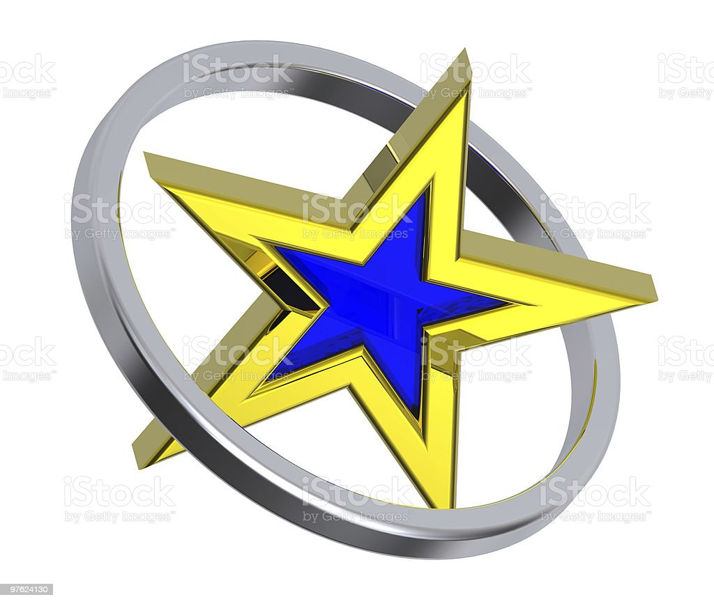 Gold with blue star in a chrome circle royaltyfri bildbanksbilder
