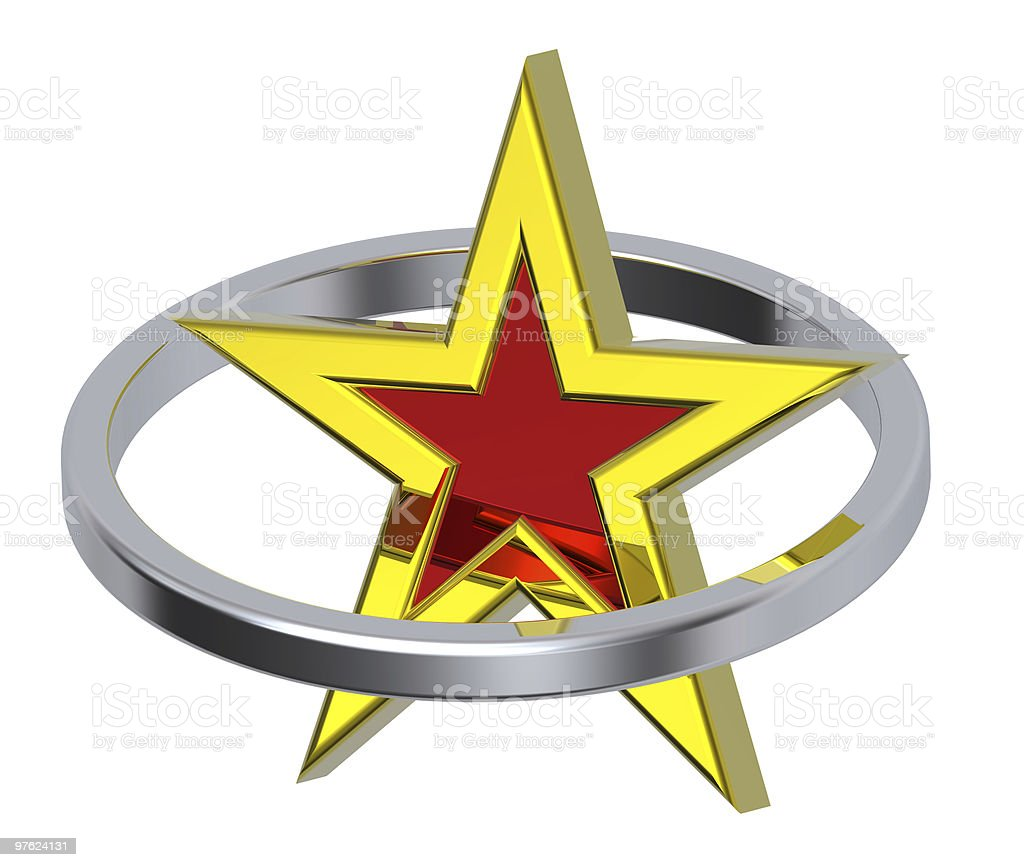 Gold with red star in a chrome circle royaltyfri bildbanksbilder