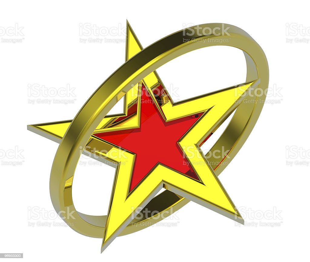 Gold with red star in a circle royalty-free stock photo