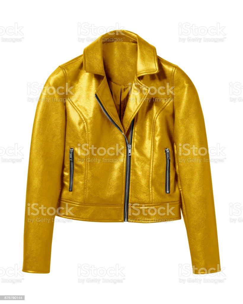 Gold woman leather jacket isolated on white stock photo