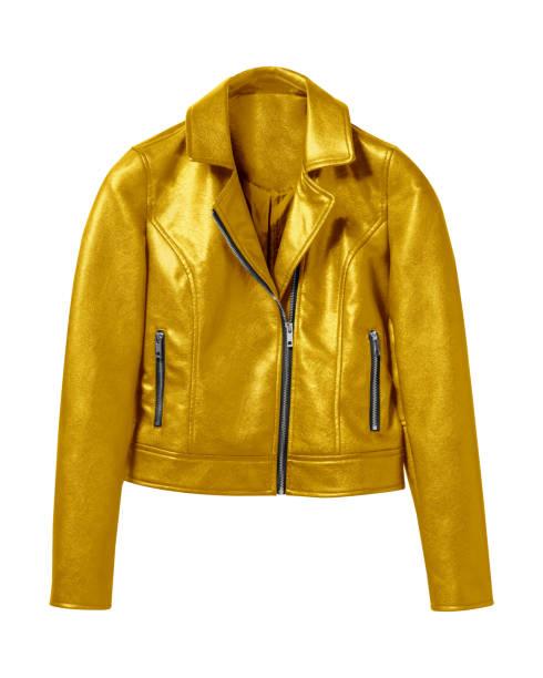 gouden vrouw leren jas geïsoleerd op wit - men blazer stockfoto's en -beelden