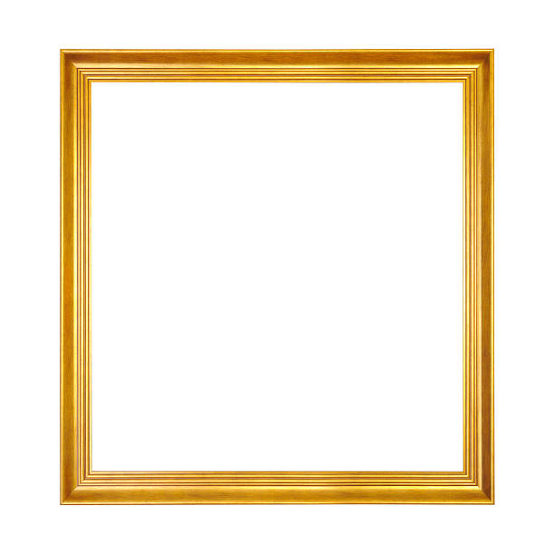 Gold wooden frame stock photo
