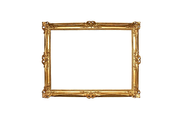 Gold wooden painting frame stock photo