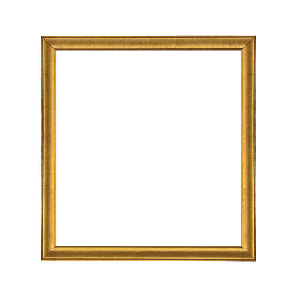 Gold wooden picture frame isolated on white background stock photo