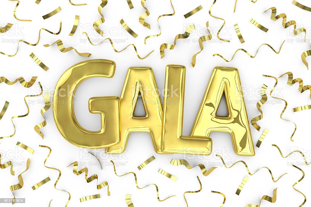 Gold word gala and confetti  background stock photo