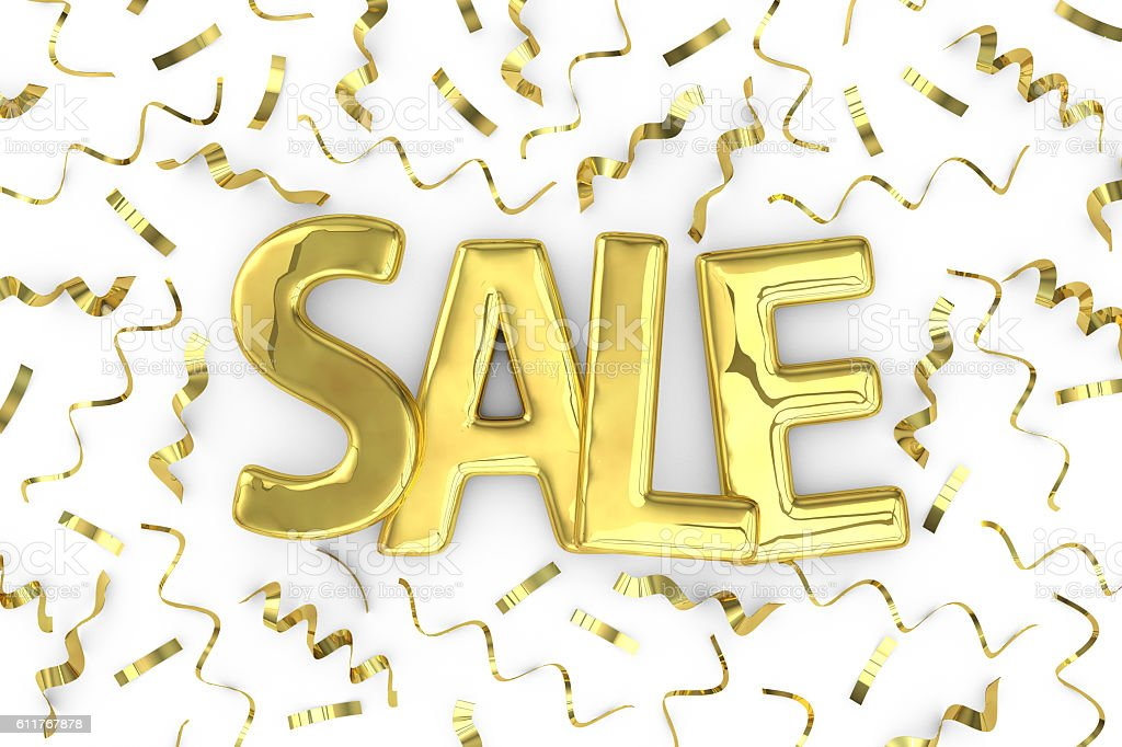 Gold word sale and confetti  background stock photo