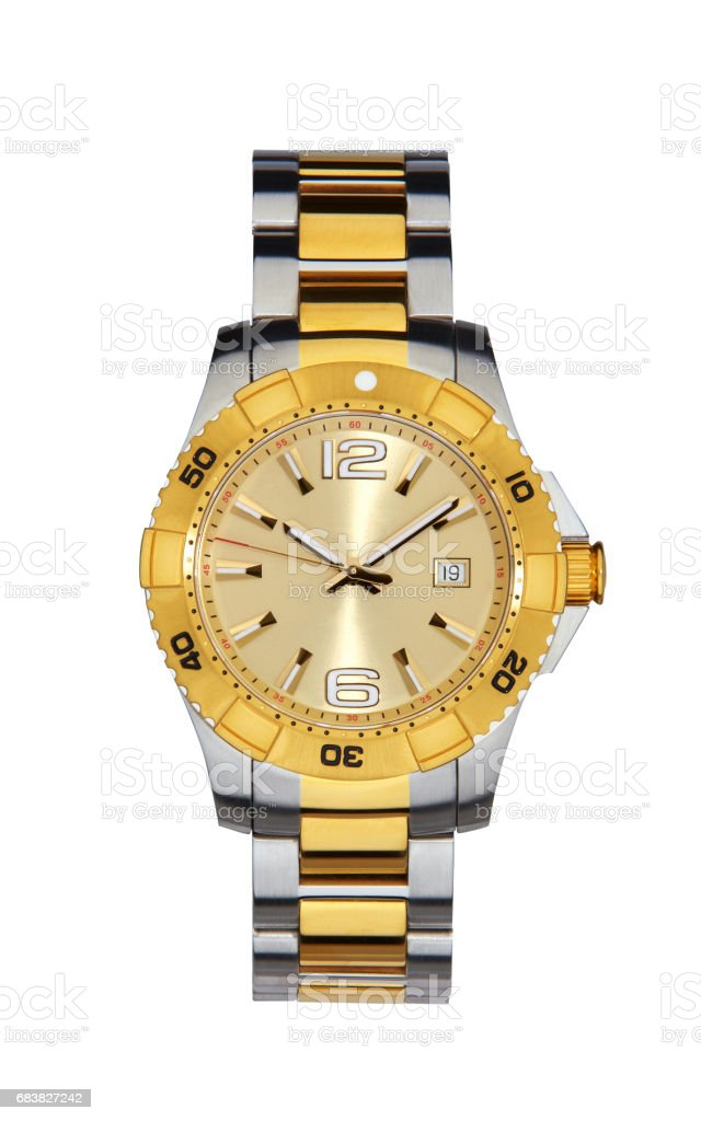 Gold wrist watch isolated on white with clipping path stock photo