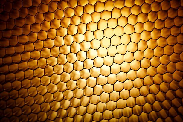 gold yellow honeycomb grid mesh background texture - 蜂巢式樣 個照片及圖片檔