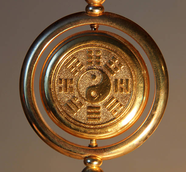 gold yin yang sign surrounded by Trigrams​​​ foto