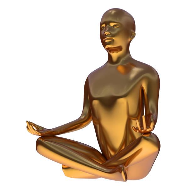gold yoga lotus position eisen mann stilisierte figur solide statue - achtsamkeit persönlichkeitseigenschaft stock-fotos und bilder