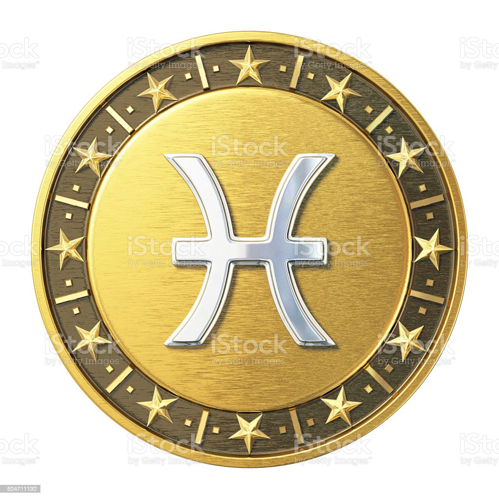 Gold Zodiac Signs - Pisces stock photo