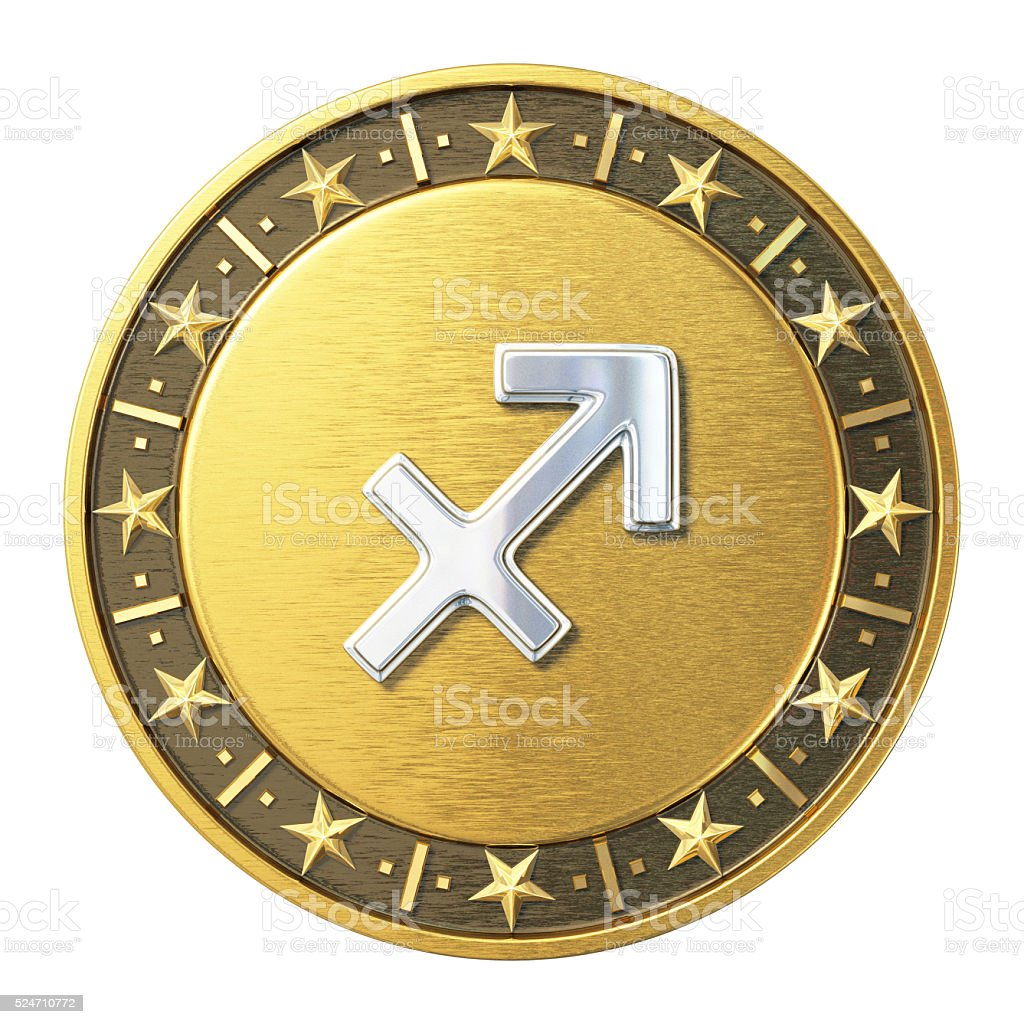 Gold Zodiac Signs - Sagittarius stock photo