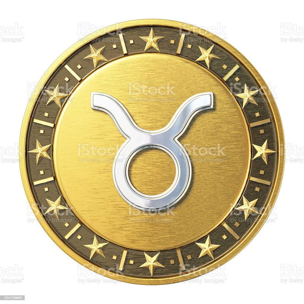 Gold Zodiac Signs - Taurus stock photo