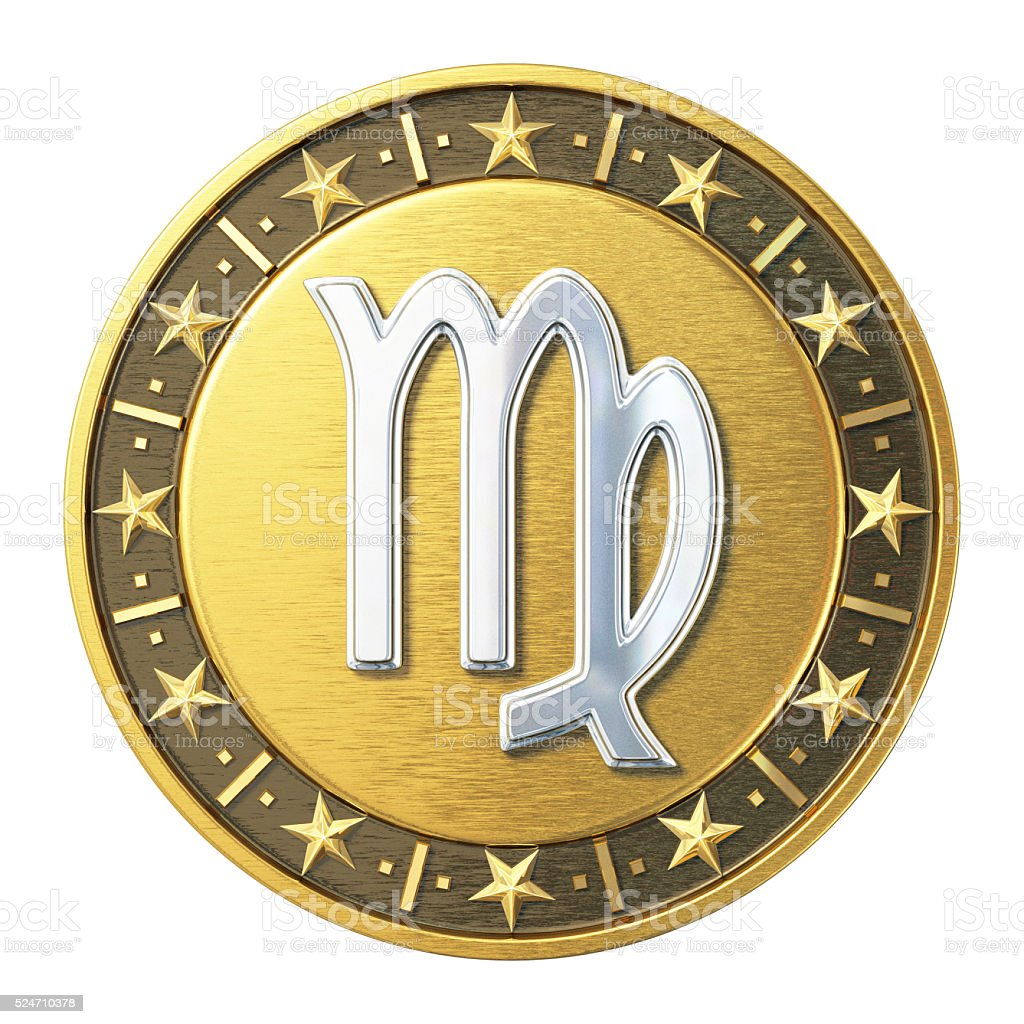 Gold Zodiac Signs - Virgo stock photo
