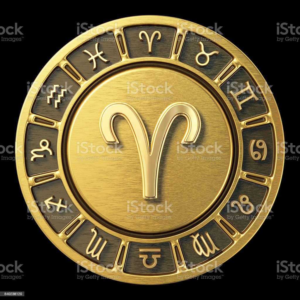 Gold Zodiac Wheel - Aries stock photo
