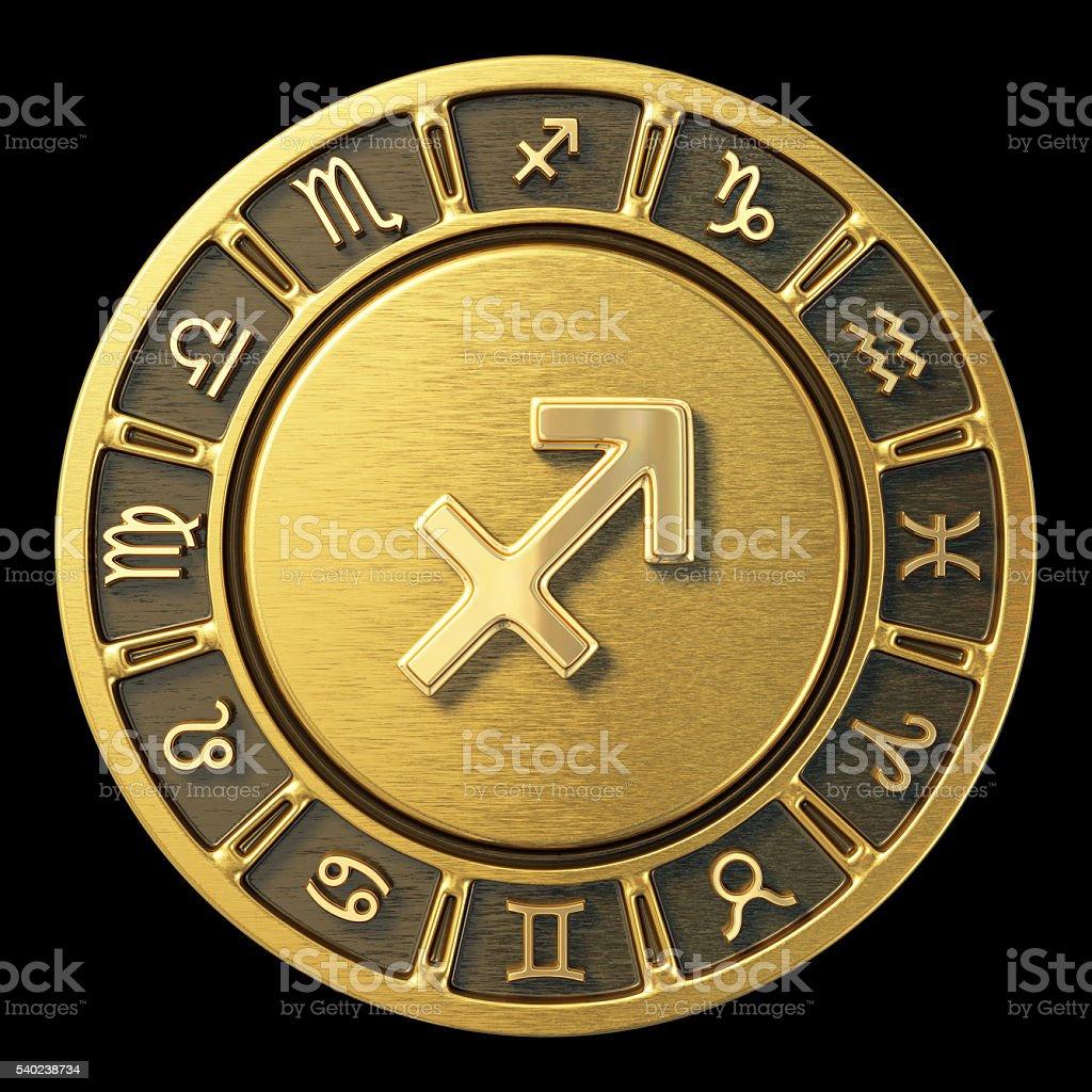 Gold Zodiac Wheel - Sagittarius stock photo