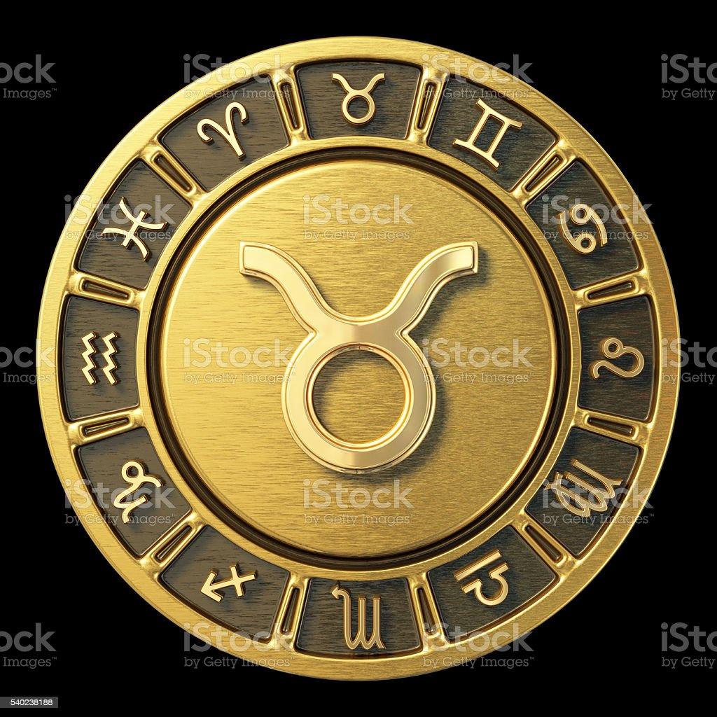 Gold Zodiac Wheel - Taurus stock photo