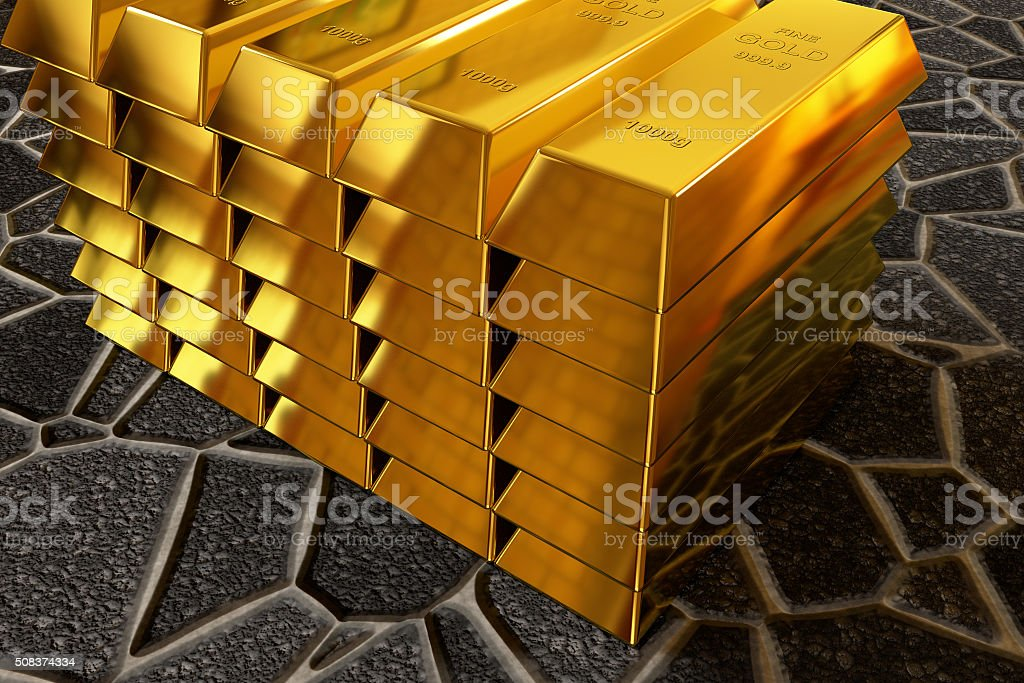 goldbars stack on the paving sidewalk stock photo