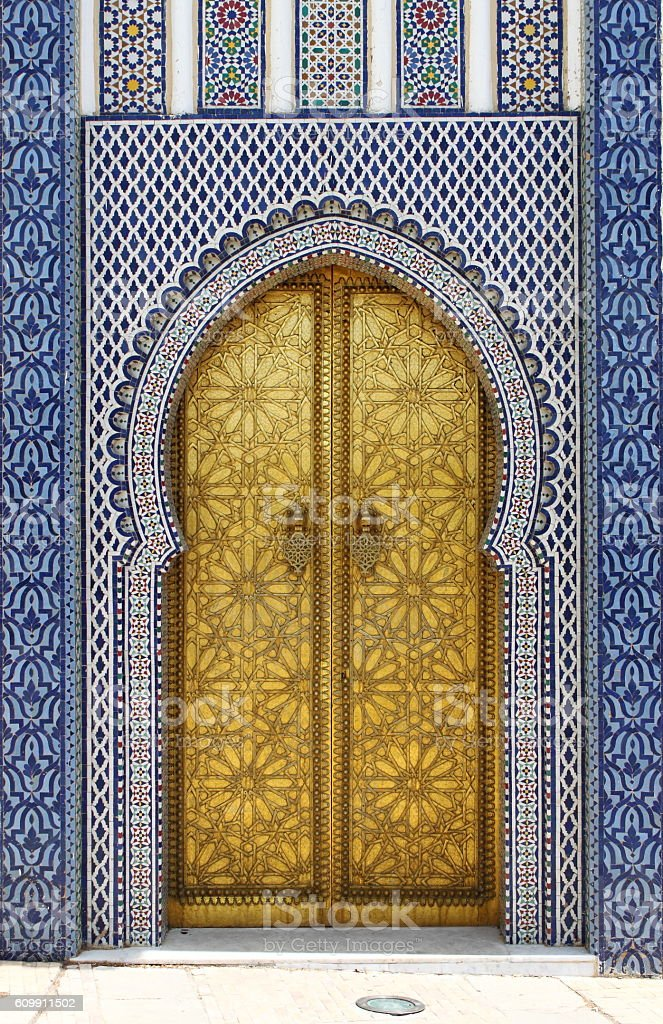 Golded door of Royal Palace in Fes stock photo