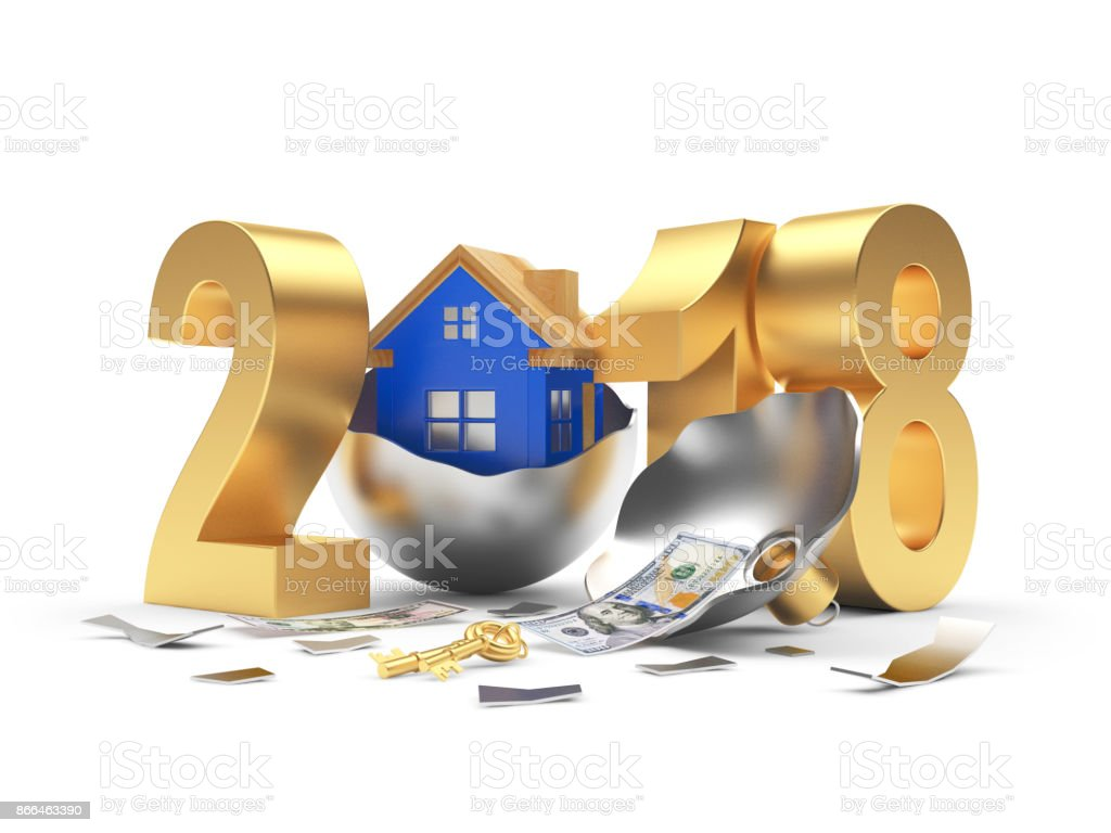 Golden 2018 and blue house on broken Christmas ball and dollar bill stock photo