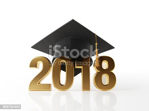 istock Golden 2018 Wearing A Black Mortarboard on White Background 839764404