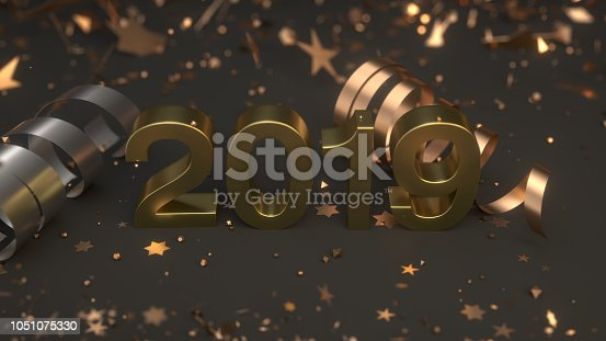 1043435102istockphoto Golden 2019 number with confetti and serpentine 1051075330