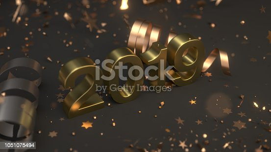 1043435102istockphoto Golden 2019 number with confetti and serpentine 1051075494