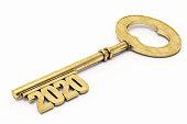 Golden 2020 Key on white