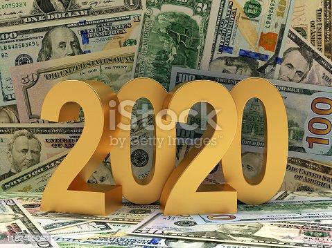 istock Golden 2020 on background of Dollar bills. 1182403260