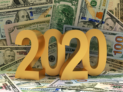 istock Golden 2020 on background of Dollar bills. 1182403260