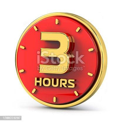 Golden 3 hours on red background. 3 hrs gold. 3d illustration.