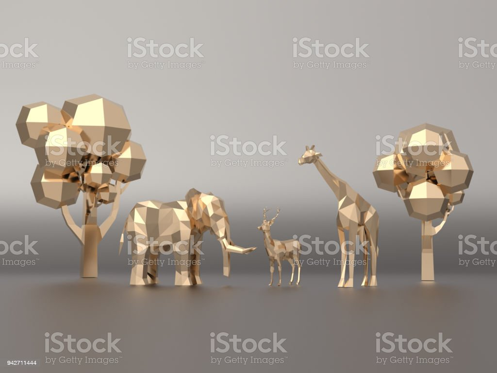 Golden 3d Model Low Polygon Elephants Deer Giraffe3d Rendering Stock Photo  - Download Image Now
