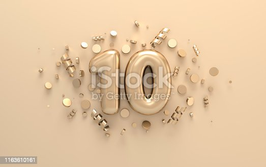 Golden 3d number 10 with festive confetti and spiral ribbons. Poster template for celebrating anniversary event party. 3d render