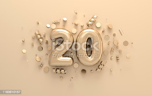 Golden 3d number 20 with festive confetti and spiral ribbons. Poster template for celebrating anniversary event party. 3d render