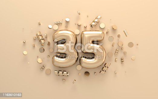 istock Golden 3d number 35 with festive confetti and spiral ribbons. Poster template for celebrating anniversary event party. 3d render 1163610163