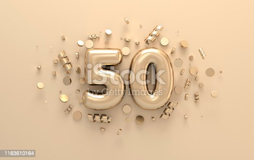 istock Golden 3d number 50 with festive confetti and spiral ribbons. Poster template for celebrating anniversary event party. 3d render 1163610164