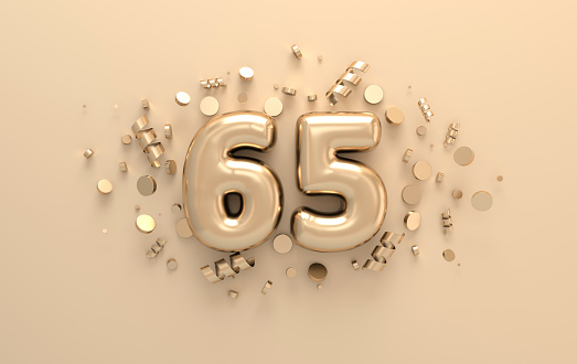 Golden 3d number 65 with festive confetti and spiral ribbons. Poster template for celebrating anniversary event party. 3d render