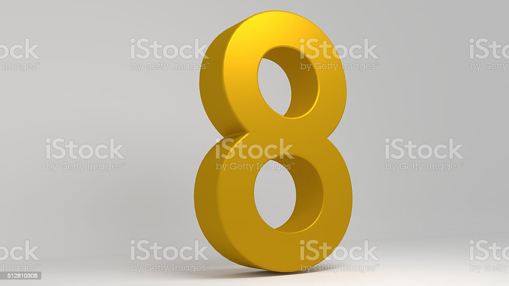 Golden 3D number. Lights and shadows. Rendered illustration. stock photo