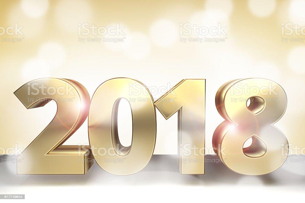 Golden 3d render sylvester 2018 stock photo