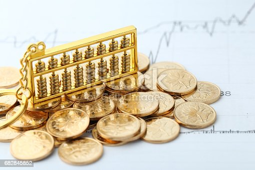 istock Golden Abacus with Chinese rmb gold coins as background 682845852