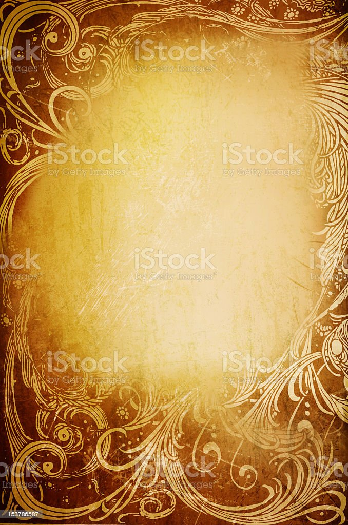 Golden abstract floral background royalty-free stock photo
