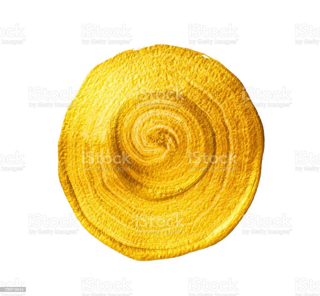 Golden acrylic circle stock photo