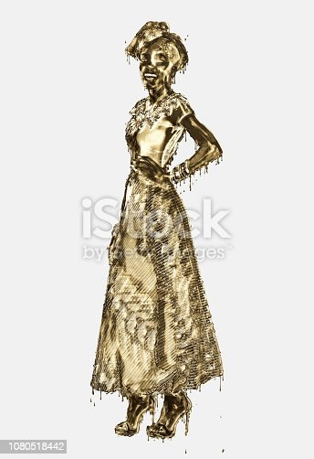 Photo illustration of a golden African woman in African style clothing.