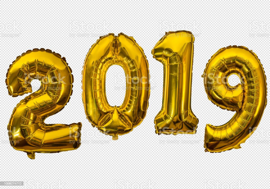 Golden air balloons for new 2019 year