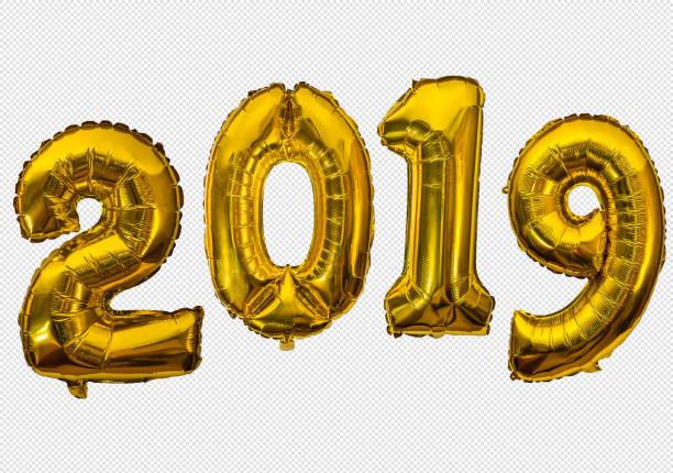 golden air balloons for new 2019 year - 2019 foto e immagini stock