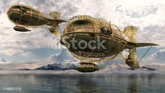Golden Airship and Aircraft above a lake