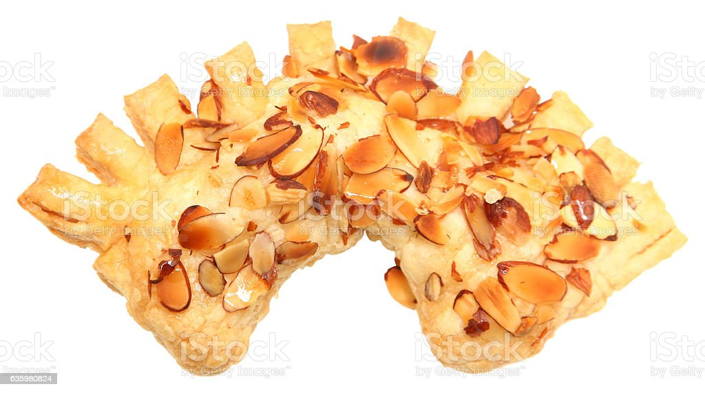 Golden Almond Honey Bear Claw Pastry stock photo