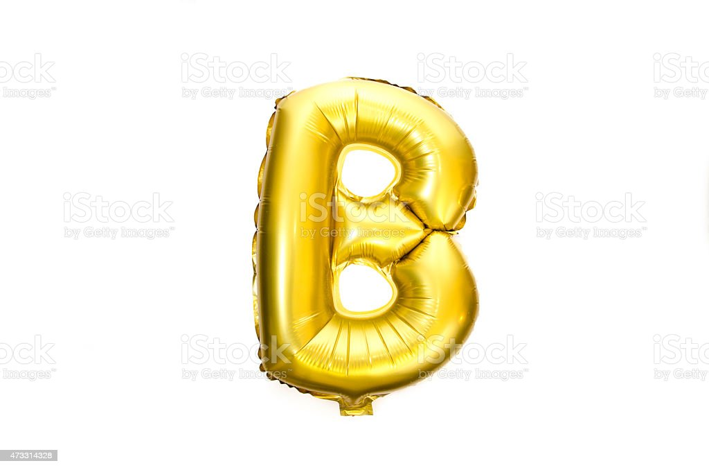 Golden Alphabet Foil Balloon Letter B stock photo
